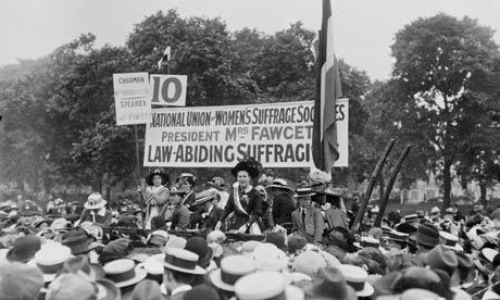 millicent fawcett giving a speech
