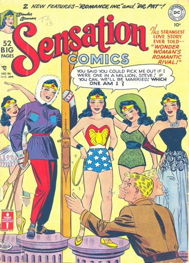 Wonder Woman, Sensation Comics, 1950s, an example of Super Dickery!