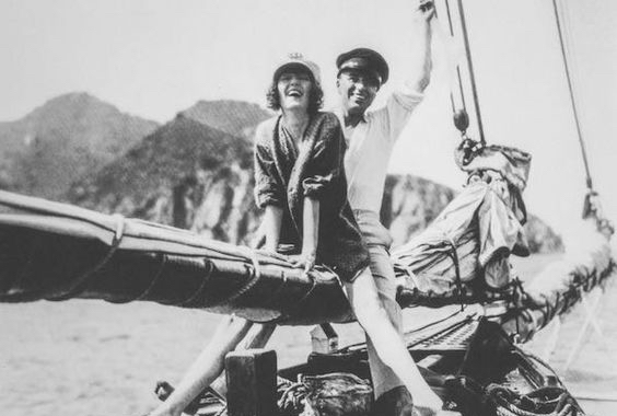 Peggy Hopkins Joyce on a boat with one time lover, Charlie Chaplin