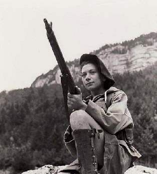 Nancy Wake with gun