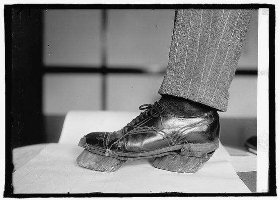 Cow shoes, used during the prohibition, these shoes helped mask the footprints of bootleggers, making them appear as vow hooves and throwing of police