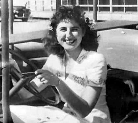 Georgette Bauerdorf in her car