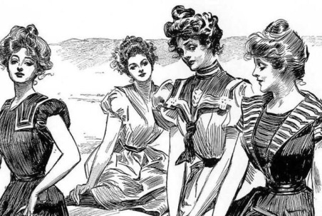 Gibson Girls at the beach