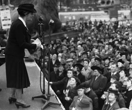 Nancy Astor at a war equality rally at 1941