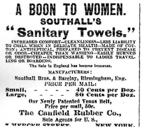 An advert for Southalls Sanitary Towels from 1887