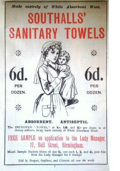 An 1880s advert for Southalls Wool Sanitary Towels