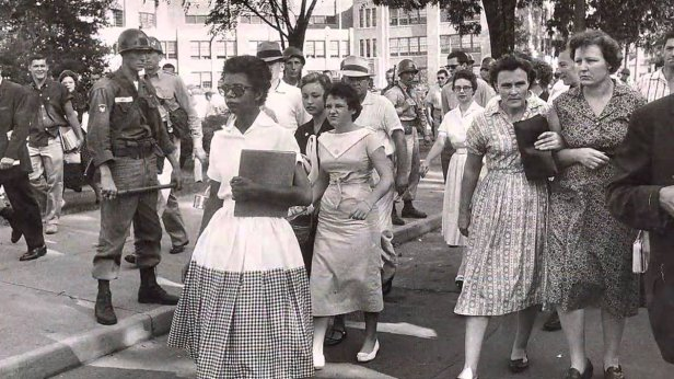 Elizabeth Eckford on the walk to Little Rock Central High School, 1957