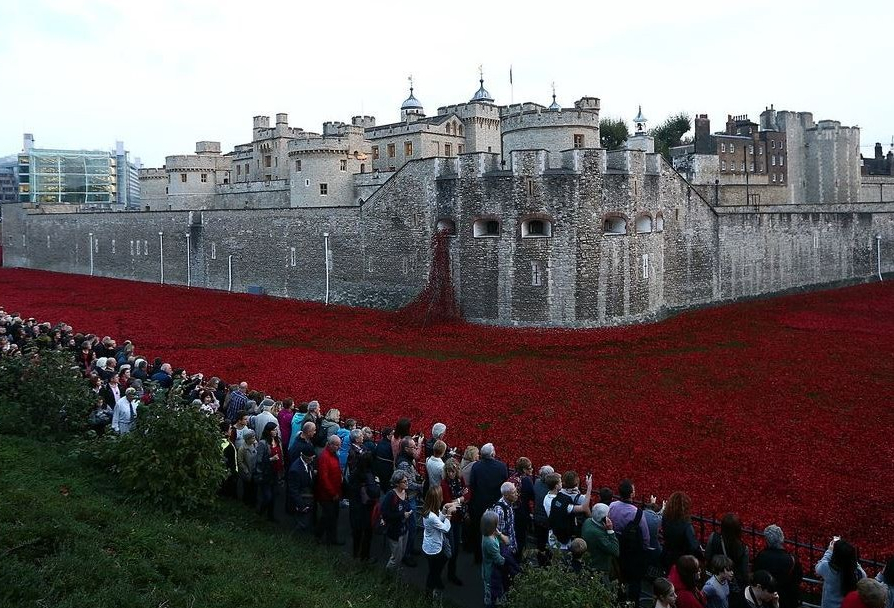 crowds at poppies at the tower