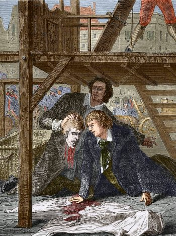 Studying a guillotined head, Mainz 1803