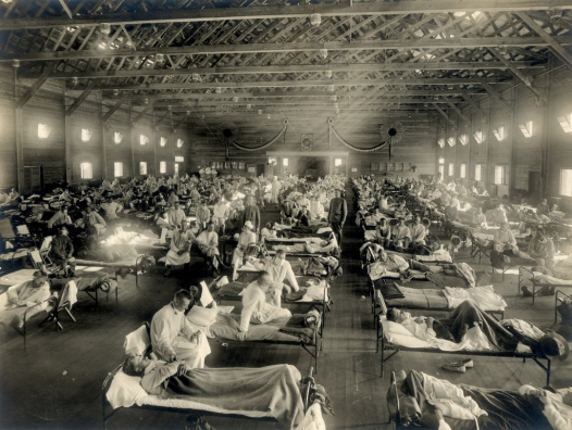 Soldiers from Fort Riley Kansas being treated for Spanish Flu at Camp Funston