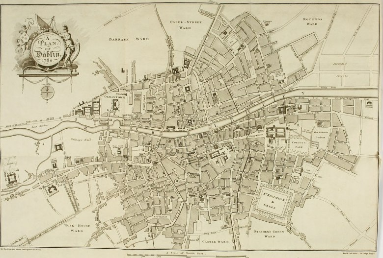 map of Dublin from 1780s