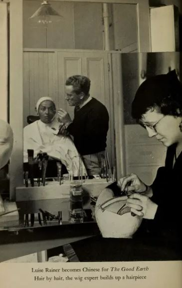 Louise Rainer in makeup for The Good Eart, Talking Pictures magazine